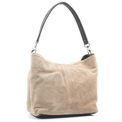 d044cf0af82 Aossta Ladies Real Italian Suede Leather Small Shoulder Handbag Tote Bag  (M02 Beige)
