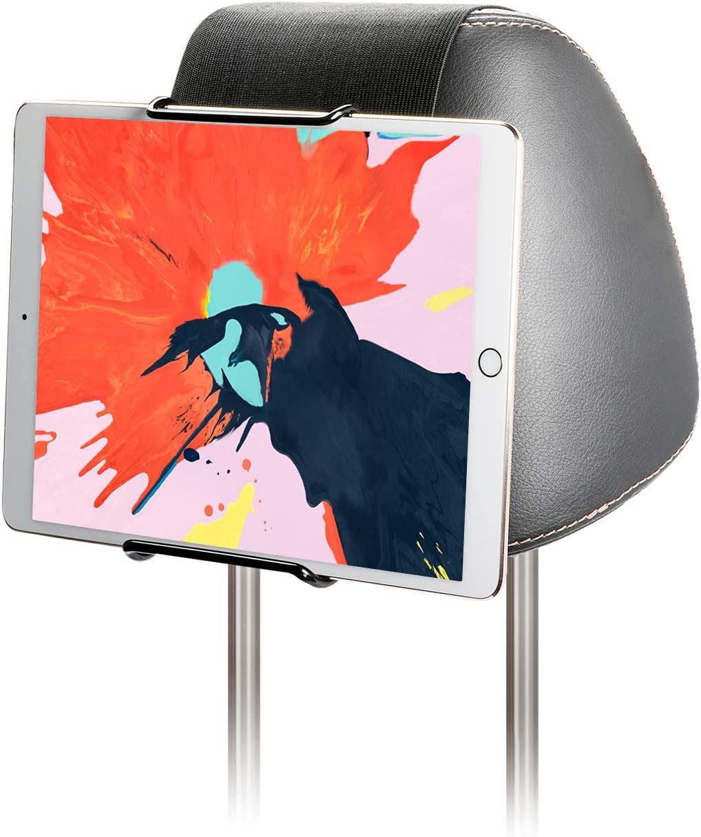 "Hikig Car Headrest Mount Holder for 7-11"" Tablets, Apple iPad, iPad Mini/Air/Pro, Samsung Galaxy Tabs - Adjustable Strap Fits Most Headrests, Universal Car Headrest Mount for Most Tablets - Black"