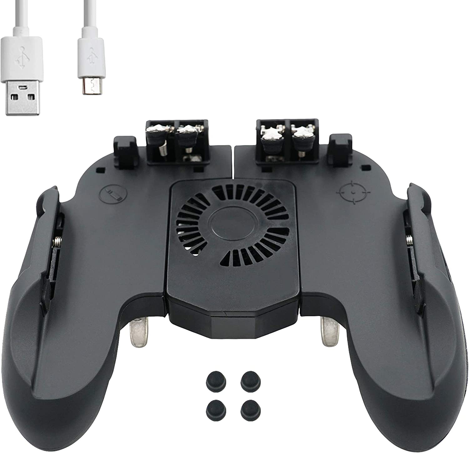 Mcbazel H9 Six Finger PUBG Game Controller with Cooling Fan for iOS Android Mobile Phone – Black