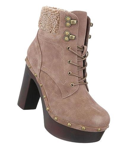 Schuhcity24 Fashion Stiefelette   High Heels Blockabsatz   Plateau ... 210bdb689b