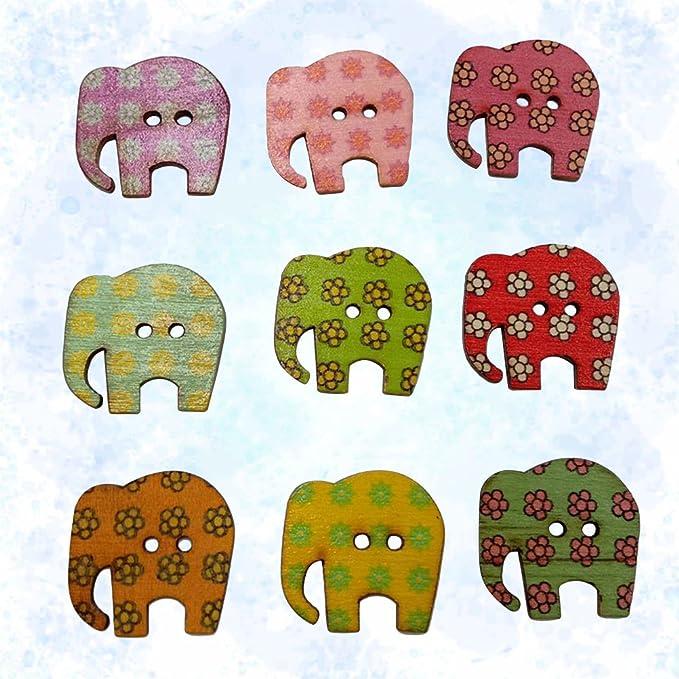 Healifty Holzknöpfe DIY Bunte Elefanten Form Holz Knopf Nähen Knöpfe ...