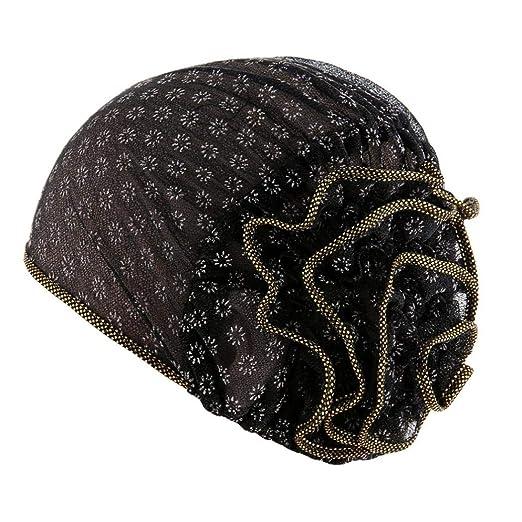 Women Muslim Turban Headband Scarf Beanie Cap Hat for Cancer Patient (Black)
