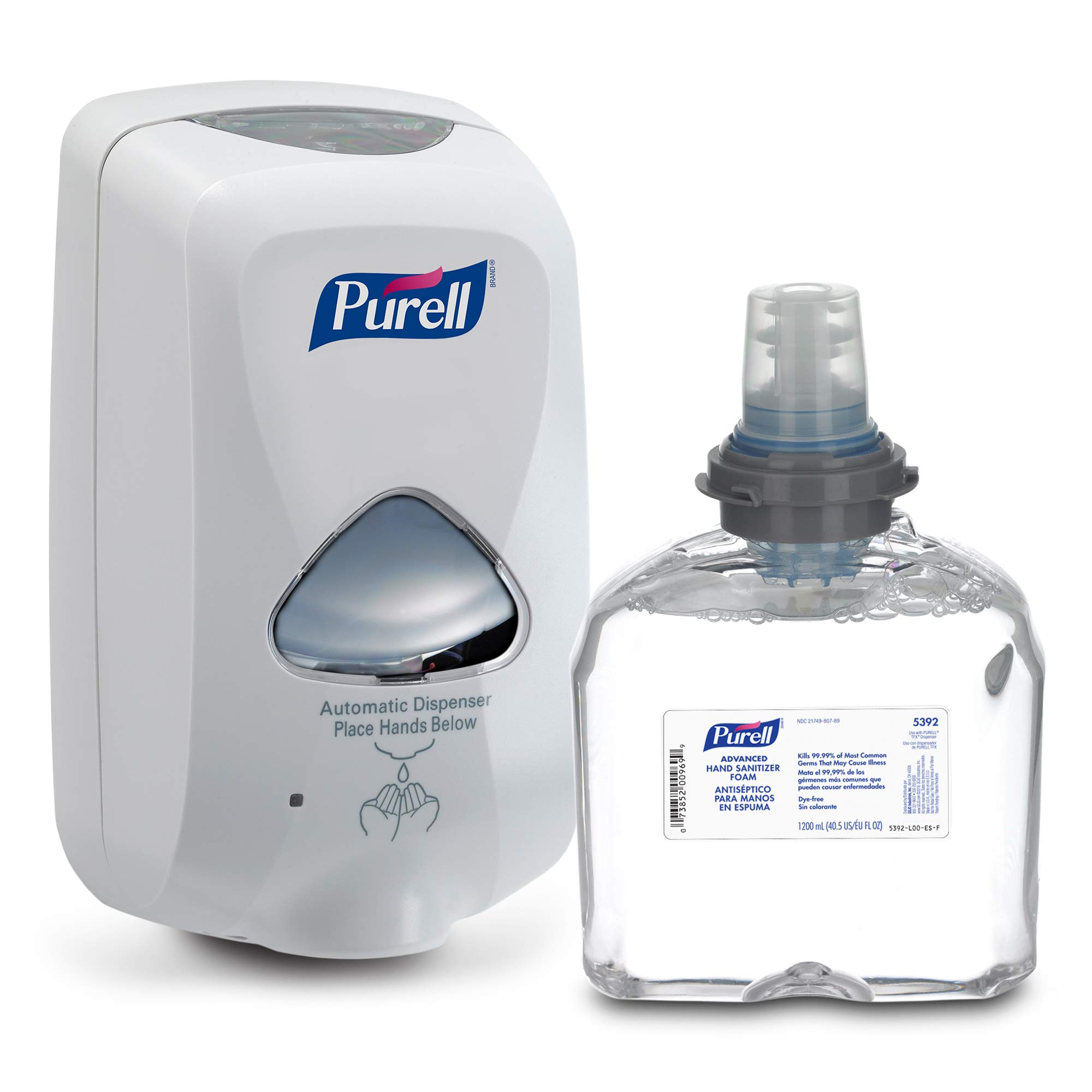 PURELL Advanced Hand Sanitizer Foam TFX Starter Kit, 1 - 1200 mL Foam Hand Sanitizer Refill + 1 - PURELL TFX Dove Grey Touch-Free Dispenser - 5392-D1 by Purell