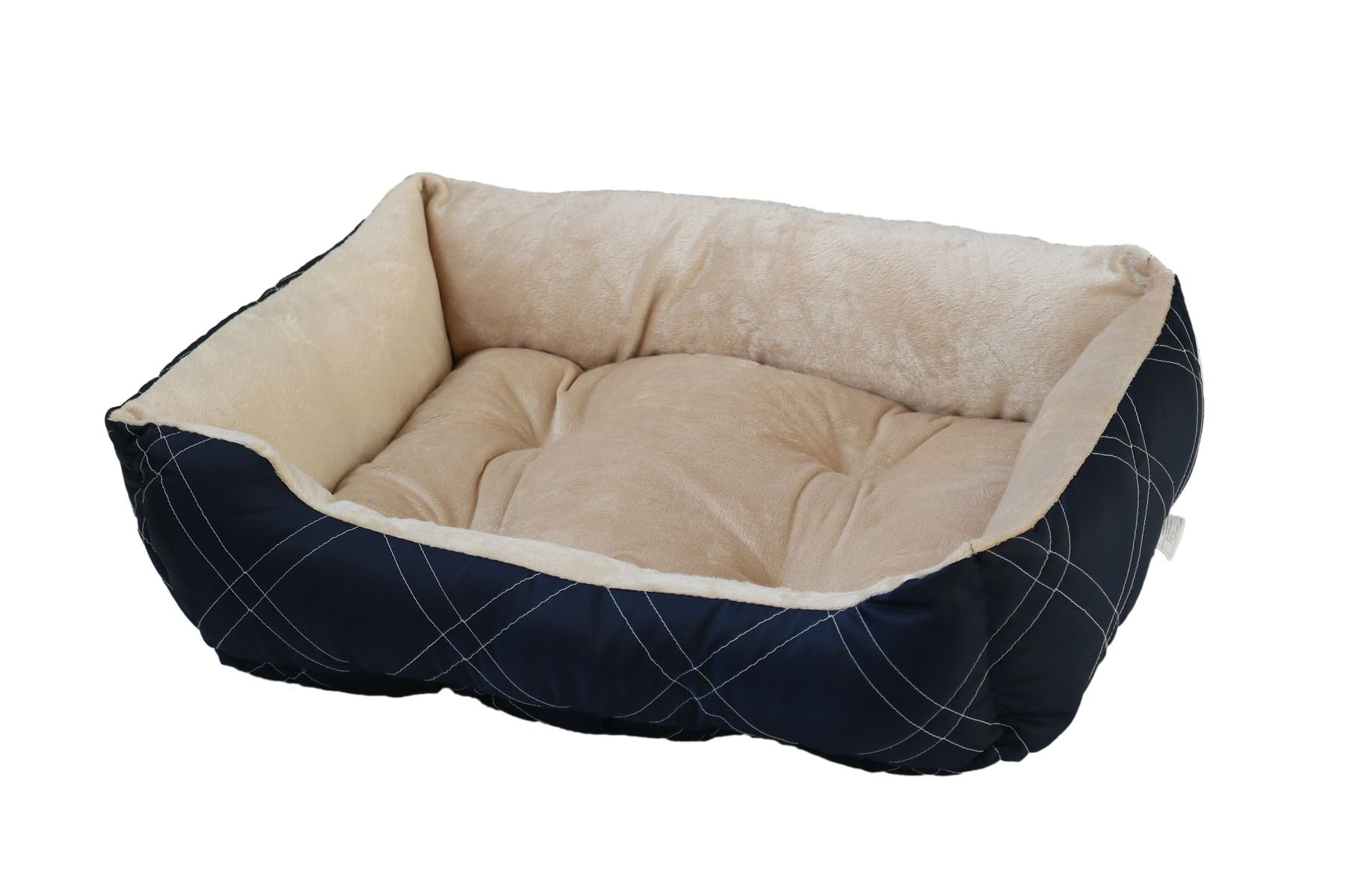 HappyCare Textiles HCT-REC-005 Diamond Quilted Reversible Bed/Cuddler, Medium Size, Navy Pet Habitat Bedding