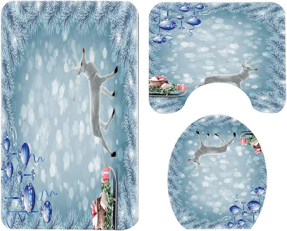 Heheja Tappetino da Bagno Tappetino per Tende da Doccia Kit Assorbente per Acqua Tappeto per WC Antiscivolo Tappetino per Toilette Stile 1