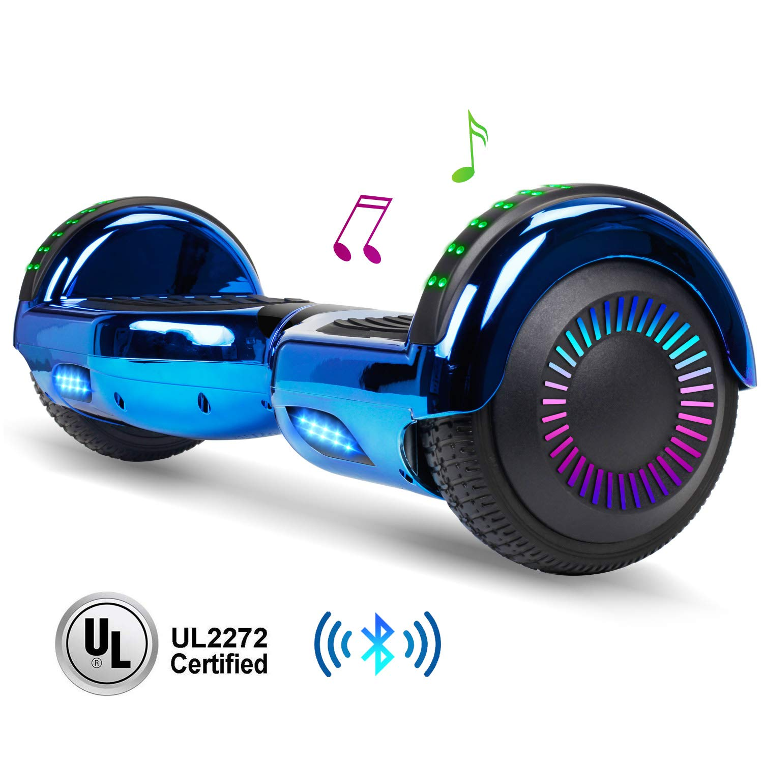 jolege Hoverboard Two-Wheel Self Balancing Electric Scooter UL 2272 Certified, Metallic Chrome with Bluetooth Speaker and LED Light