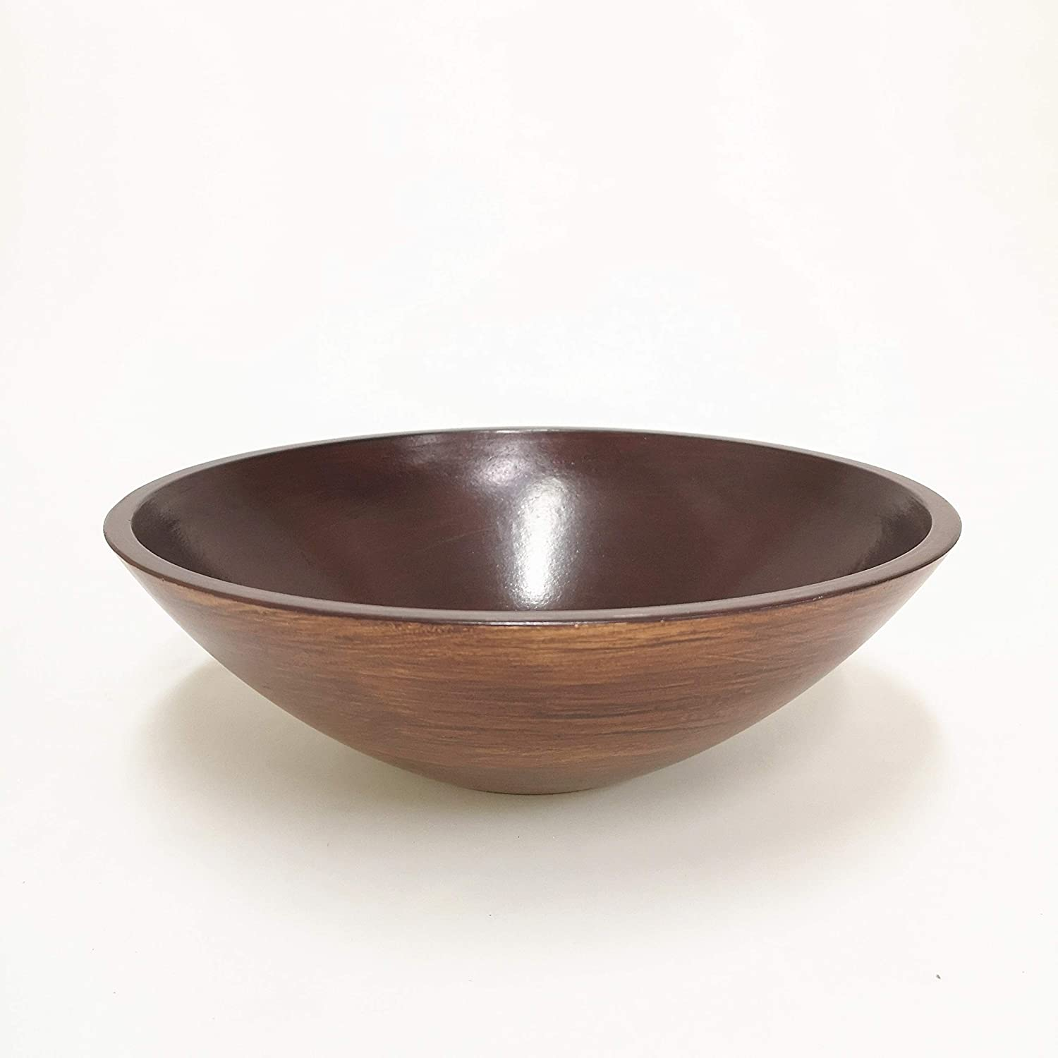 Hosley 11.8 Inch Diameter Wood Finish Decorator Bowl Ideal for Dried Floral Arrangements with Orbs Potpourri or Just as Decor Ideal Gift for Weddings or Special Occasions O3 (Brown 2)
