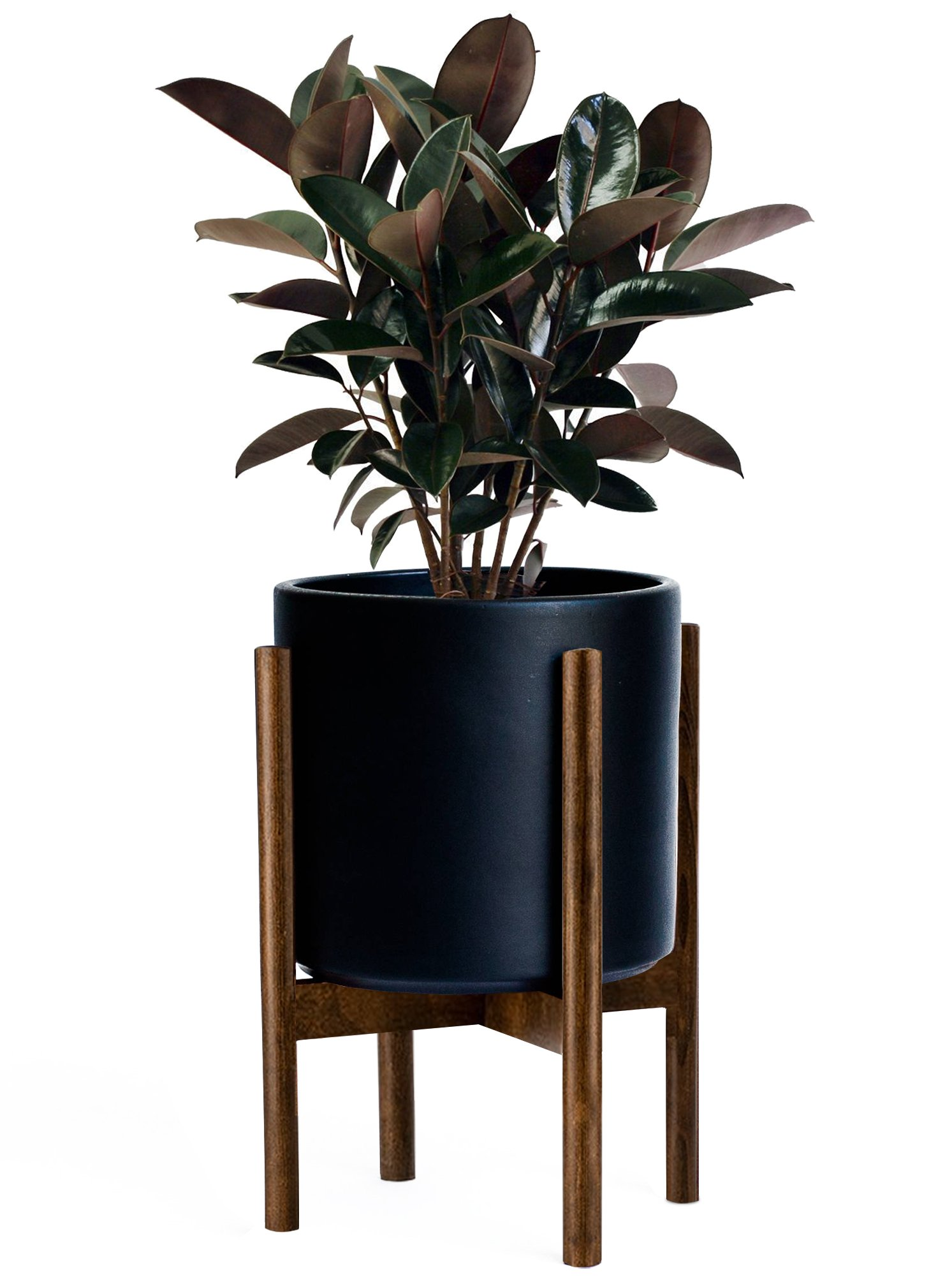 Timeyard Mid Century Plant Stand - Best Fits 10'' Flower Pot - Wood Indoor Planter Holder - Modern Home Decor (Planter Not Included)