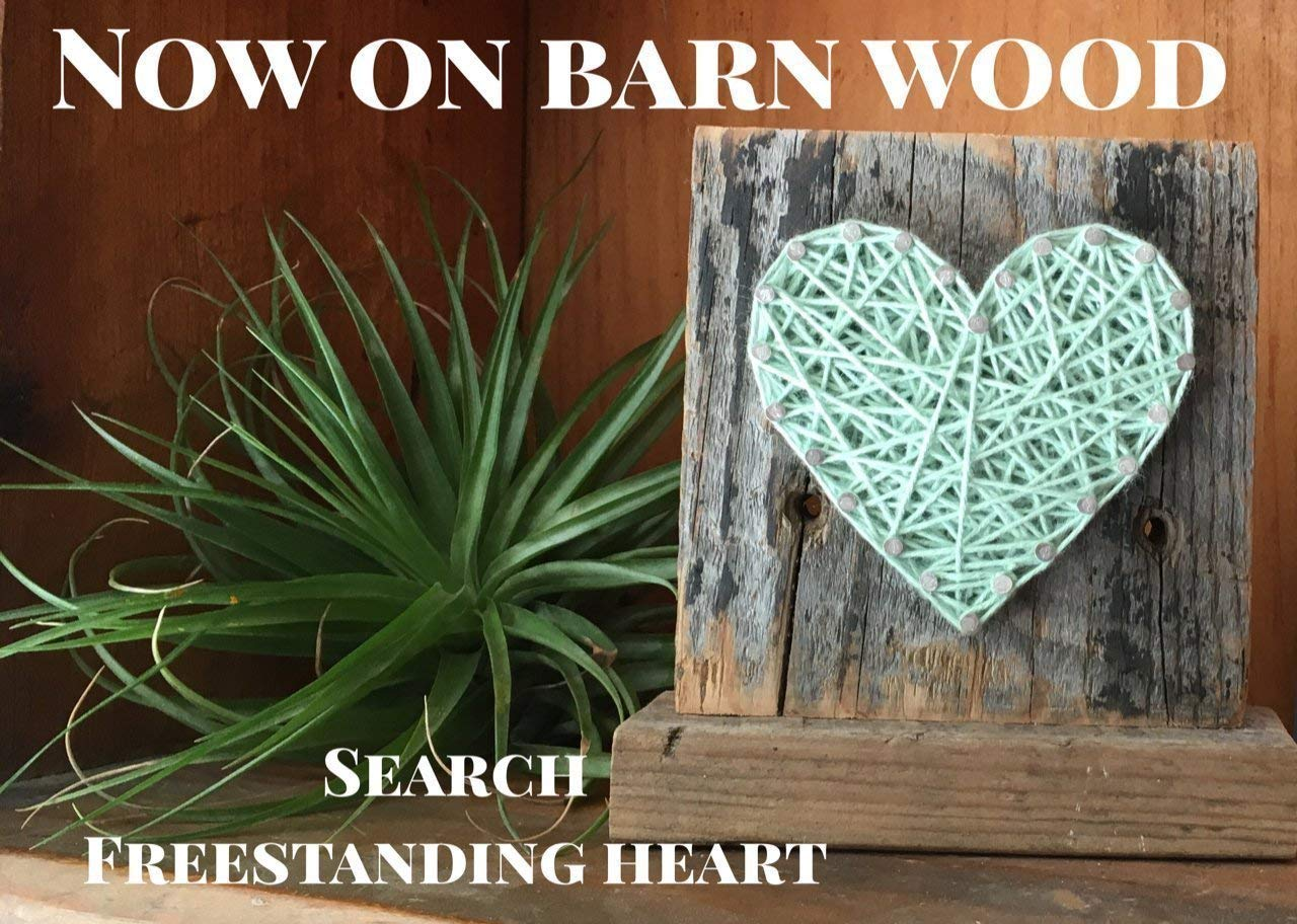 Sweet and small rustic wooden aqua string art heart block. Unique gift Easter baskets, for Father's Day, Weddings, Anniversaries, Birthdays, Christmas, housewarming and just because gifts. by Nail it Art (Image #7)