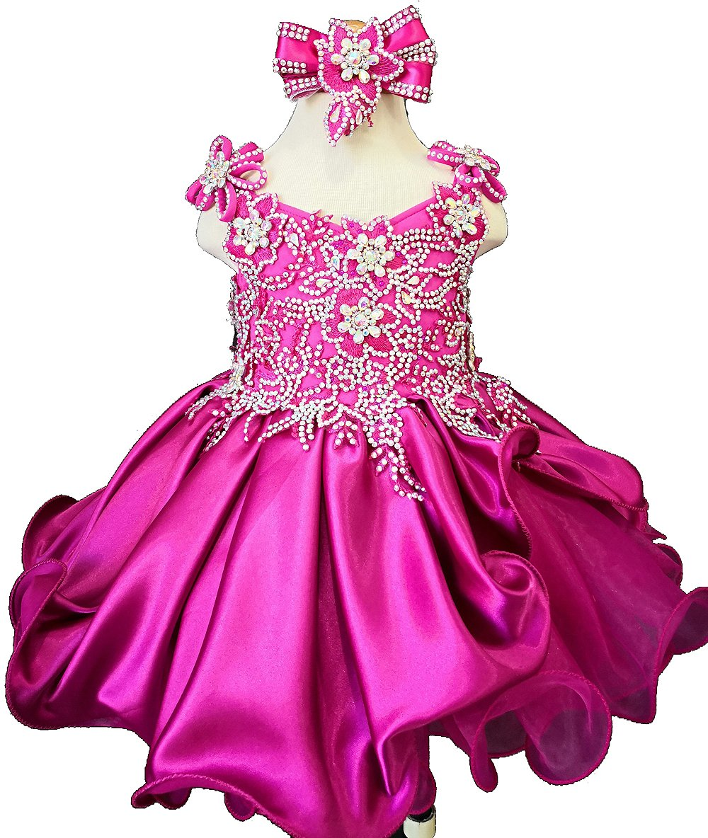 Jenniferwu Infant Toddler Baby Newborn Little Girl's Pageant Party Birthday Dress G023 Fuchsia Size 9-12M