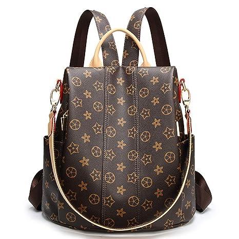 Mochila antirrobo, bolso cambiador con impresión, bolso multifunción, bolso para mujer marrón Alte