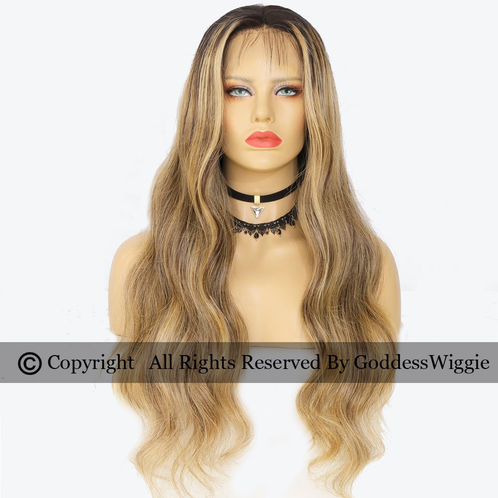 Balayage Highlight Blonde Human Remi Curly Hair Wig With Baby Hair OmbreLace Front Wigs For Women (22inch 180density)