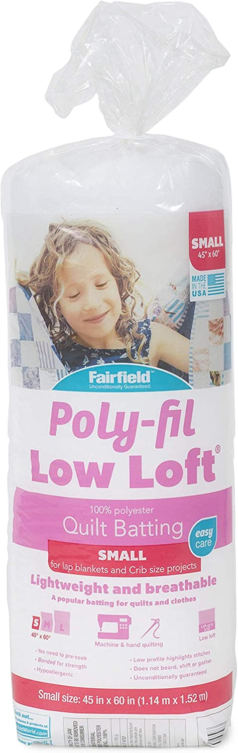 Fairfield Poly-Fil Low-Loft 100% Bonded Polyester Batting-Twin Size x, 72&quot x 90&quot, White
