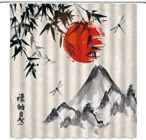 Japanese Shower Curtain Ink Painting Bamboo Dragonfly with Red Sun Mountains Decor Asian Antique Artistic Nature,Fabric Bathroom Set Hooks Included 70x70 Inch,Gray