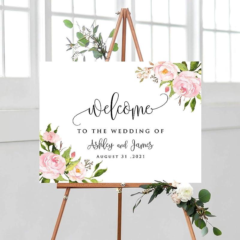 6ft Wedding Pull Up Blush pink floral Wedding Welcome  banner Personalised Wedding, Wedding Welcome Sign Shabby chic Wedding
