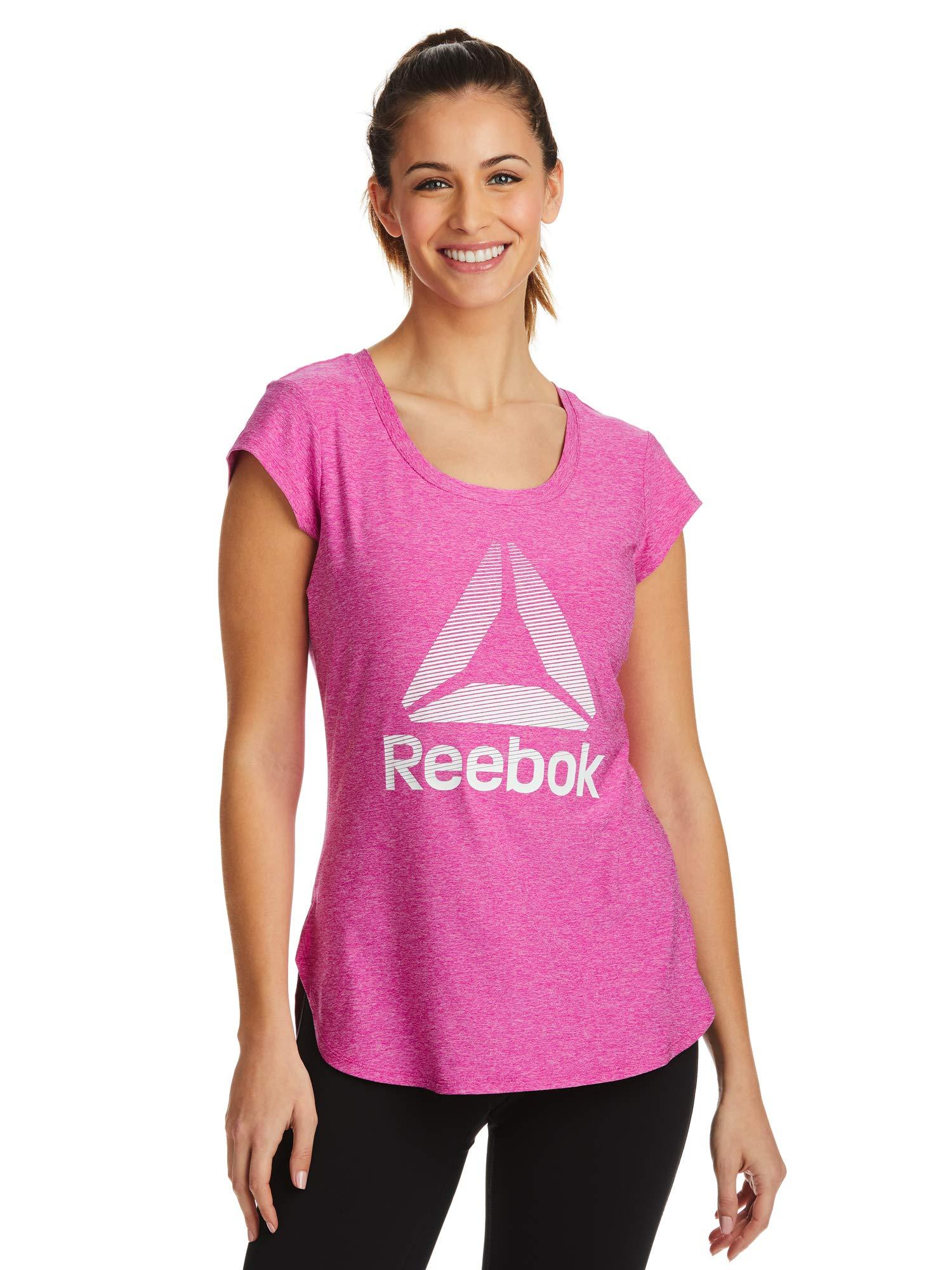Reebok Women's Legend Performance Top Short Sleeve T-Shirt - Fuchsia Heather, X-Small