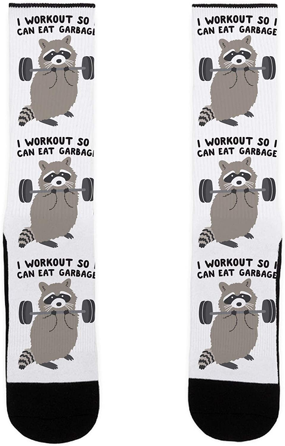 LookHUMAN I Workout So I Can Eat Garbage Raccoon US Size 7-13 Socks