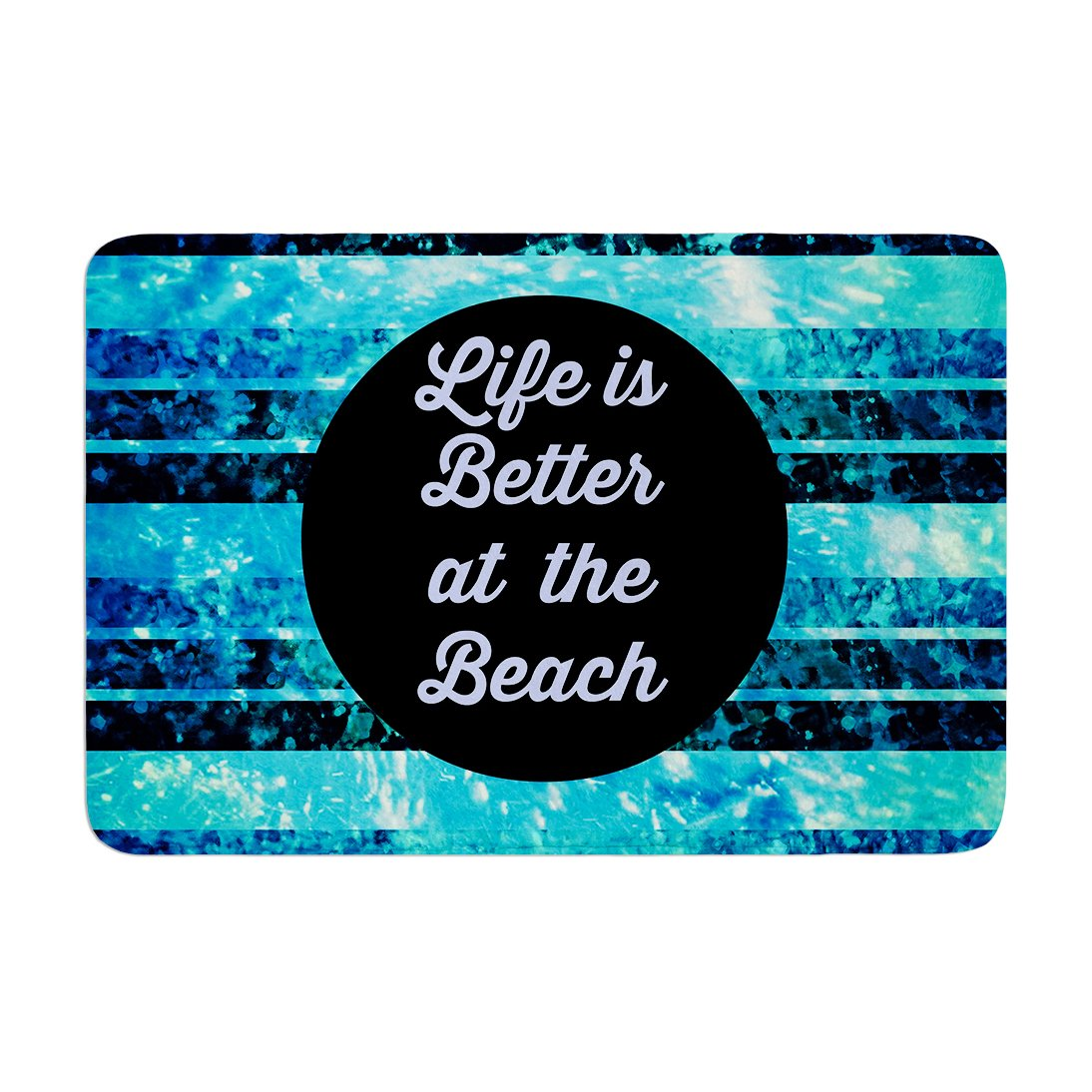 17 by 24 Kess InHouse EBI Emporium Life is Better at The Beach Blue Aqua Memory Foam Bath Mat
