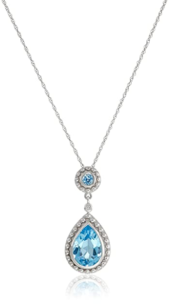 70c1ee8ede0 Amazon.com  14k White Gold Swiss Blue Topaz and Diamond Drop Pendant ...