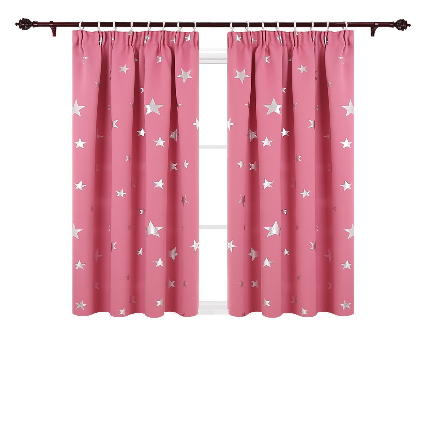Deconovo Super Soft Thermal Insulated Pencil Pleat Star Printed Blackout Curtains for Nursery with Two Matching Tie Backs 46 x 54 Inch Blue 2 Panels
