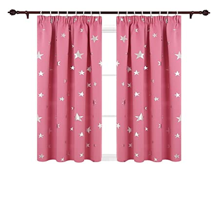 Deconovo Super Soft Thermal Insulated Pencil Pleat Star Printed Blackout Curtains For Children With Two Matching