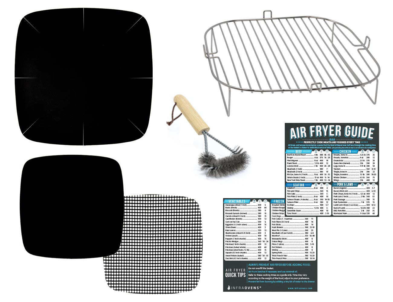 Air Fryer Accessories Kit for 9 x 9 inch basket | Compatible with NuWave, GoWise, Innsky, Tidylife, Sarki + More | XL to XXL Airfryer Accessory Rack Set of 7 with Grill Brush | 10QT – 11.6QT – 12QT