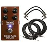 MXR M84 Bass Fuzz Deluxe Pedal Fuzz Pedal Bundle for Bass Guitar with Dry, Wet, Tone and Fuzz Controls with 2 Patch Cabler and 2 Instrument Cable