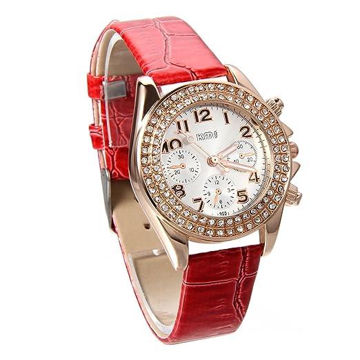 Jewelrywe Reloj de señora, agradable y bonito, con número de pantalla, cuero y