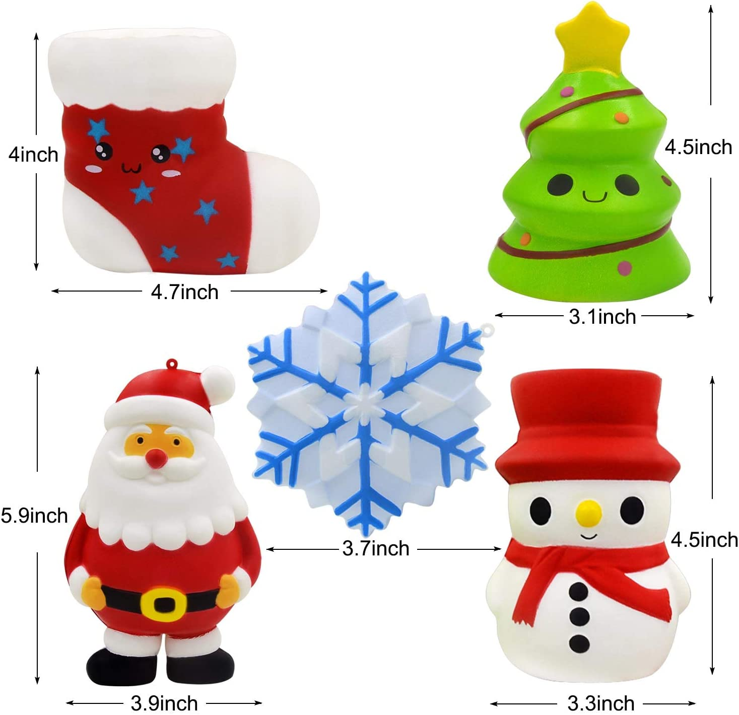 Christmas Tree Santa Snowman U-Goforst 5PCS Slow Rising Christmas Squishies Funny Jumbo Gift Pack XMas 5pcs Stocking and Snowflake Squeeze Soft Stress Relief Hop Props Sensory Squishy Toys