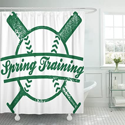 Emvency Shower Curtain Softball Spring Training Baseball Stamp Vintage Waterproof Polyester Fabric 60 X 72 Inches