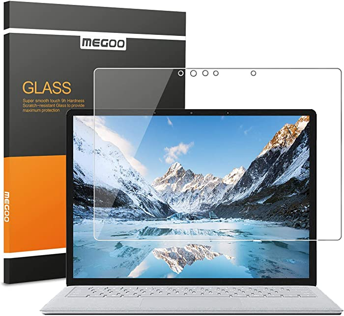 Megoo Surface Laptop 3 13.5 Inch Screen Protector Tempered Glass, Easy Installation/Ultra Clear Screen, Compatible for Microsoft Surface Laptop 2/1-13.5 Inch