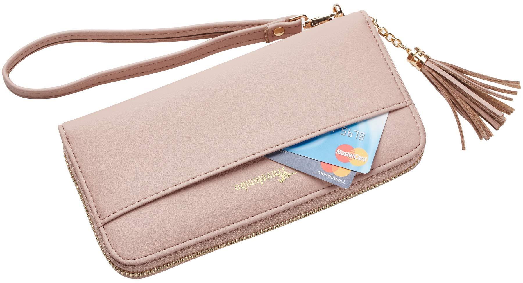 Travelambo Womens Wallet Tassel Bifold Ladies Cluth Wristlet Wrist strap Long Purse (Access Pink Champagne) by Travelambo (Image #3)