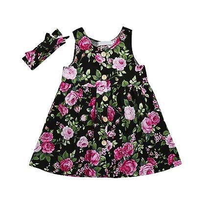 DORIC Vestidos para bebés niñas bebés vestidos flor estampado Bowknot vestido ropa