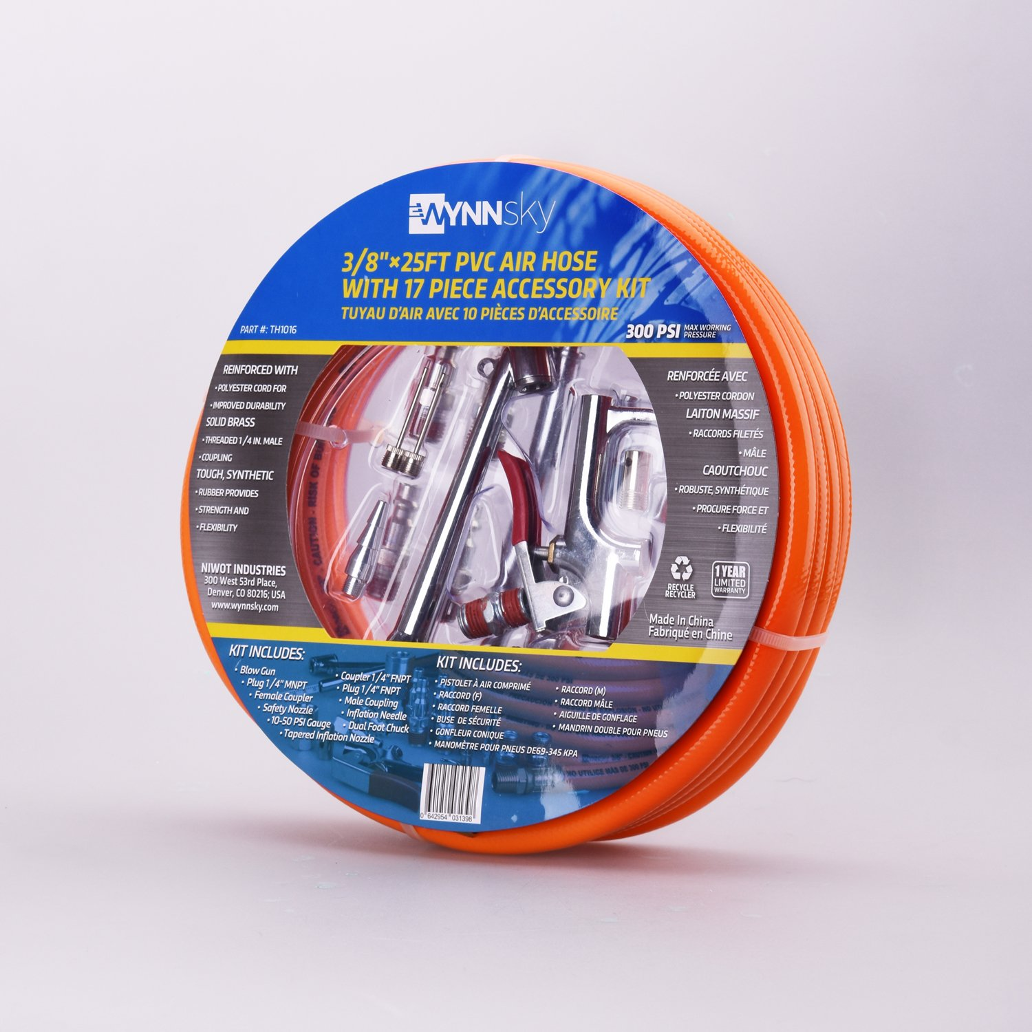 WYNNsky 3/8''X 25ft PVC Air Compressor Hose With 17 Piece Air Tool and Air Accessories Kit by WYNNsky (Image #8)