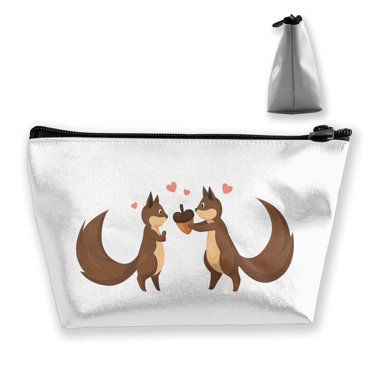 Trapezoid Toiletry Pouch Portable Travel Bag Squirrel Love Zipper Wallet