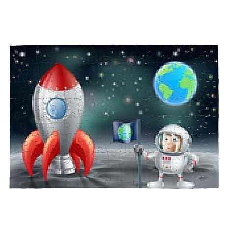 My puzzle design puzzle astronauta cartone animato e razzo