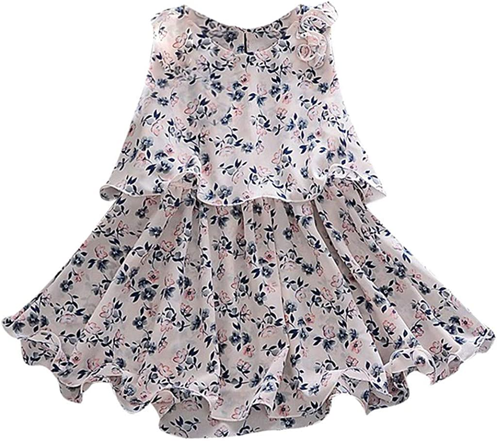 Toddler Baby Girls Floral Flowers A-Line Skirt Party Princess Dresses