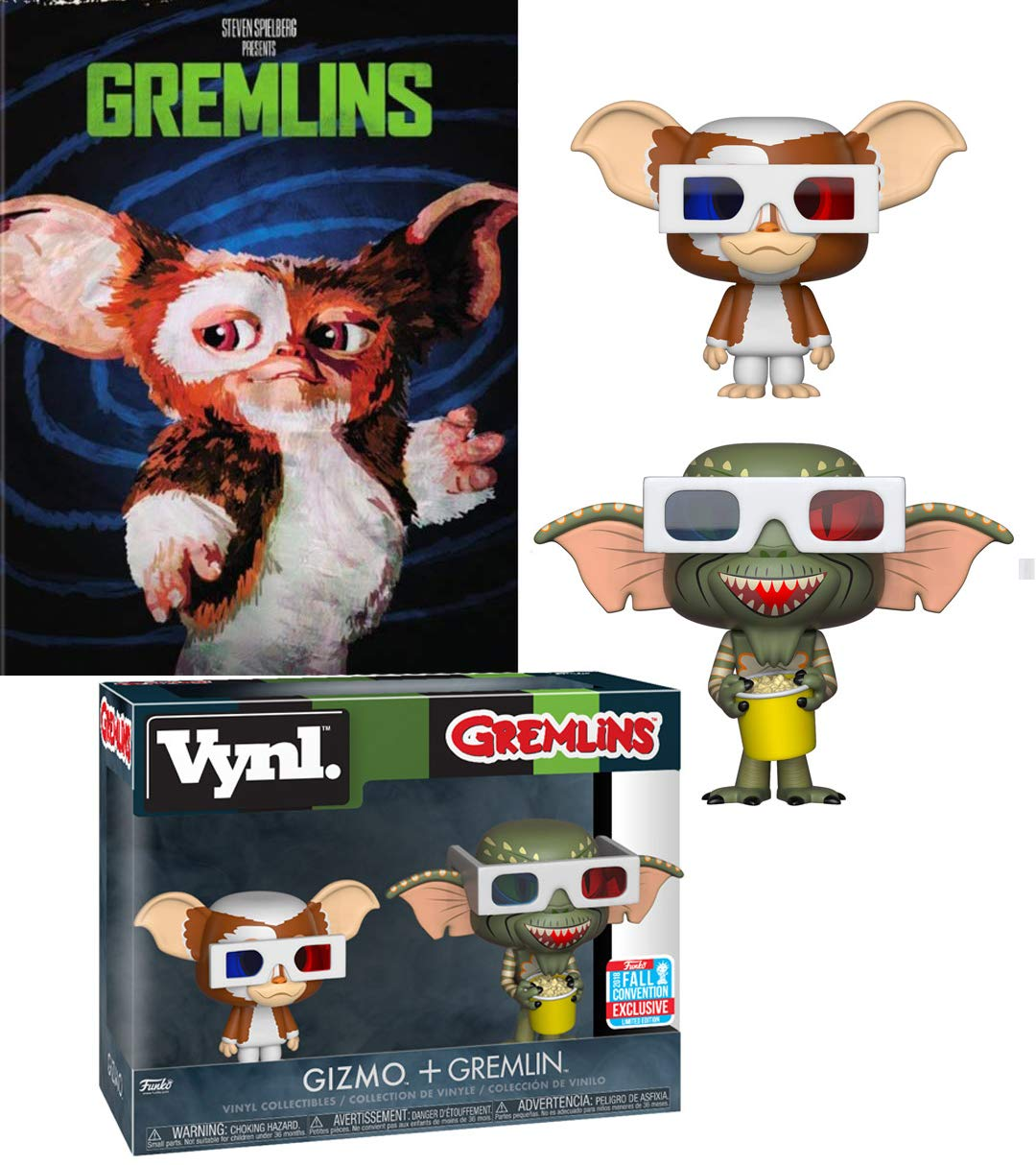 No food or Water after midnight Critters Gremlins Gizmo & Gremlin wearing 3D Glasses Vynl Figure Movie Duo Exclusive Box