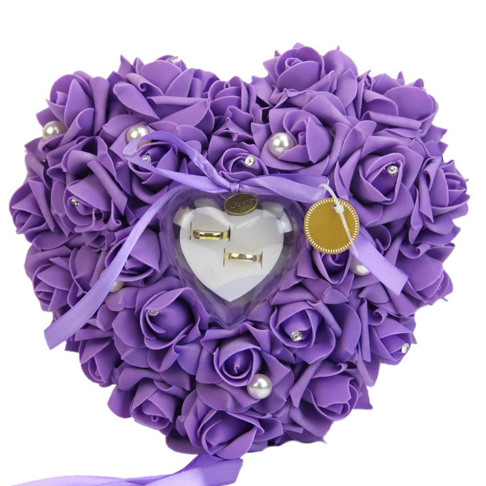VEVICE Élégant Simulant Rose Oreiller de Bague de Mariage en Forme de Cœur Taie d'oreiller Décoration pour Mariage Fournitures Cadeaux, Rose, 6 * 20 * 20CM