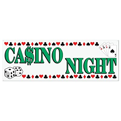 Casino Night Sign Banner Party Accessory (1 count) (1/Pkg): Childrens Party Banners: Kitchen & Dining