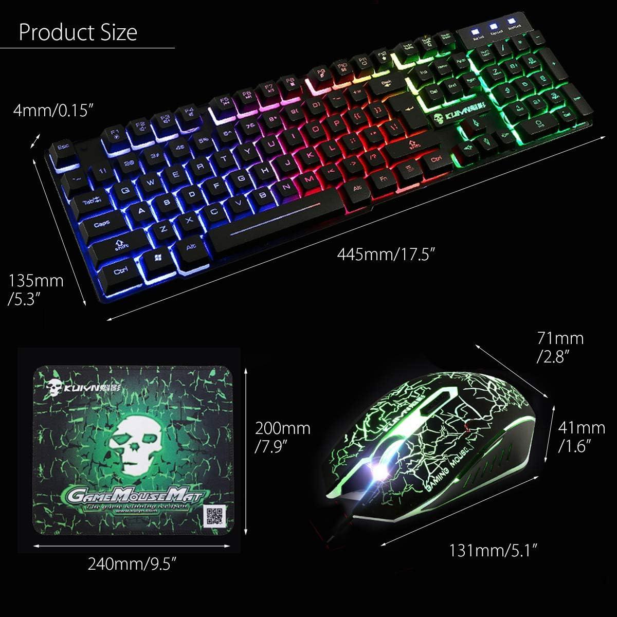 Redcolourful USB Office Rainbow Backlight Keyboard Mouse Set Mechanical for PC Laptop Desktop Gaming Stylish Ergonomic Combo Black