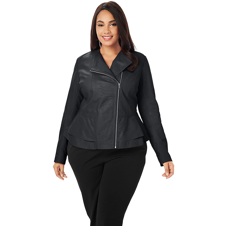 Jessica London Women's Plus Size Collarless Leather Peplum Jacket