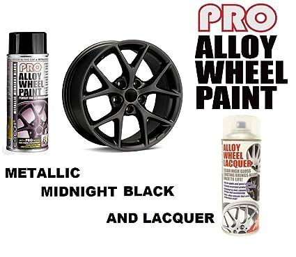E-Tech Pro metálico Midnight negro aleación rueda Spray de pintura & eTech Laca transparente