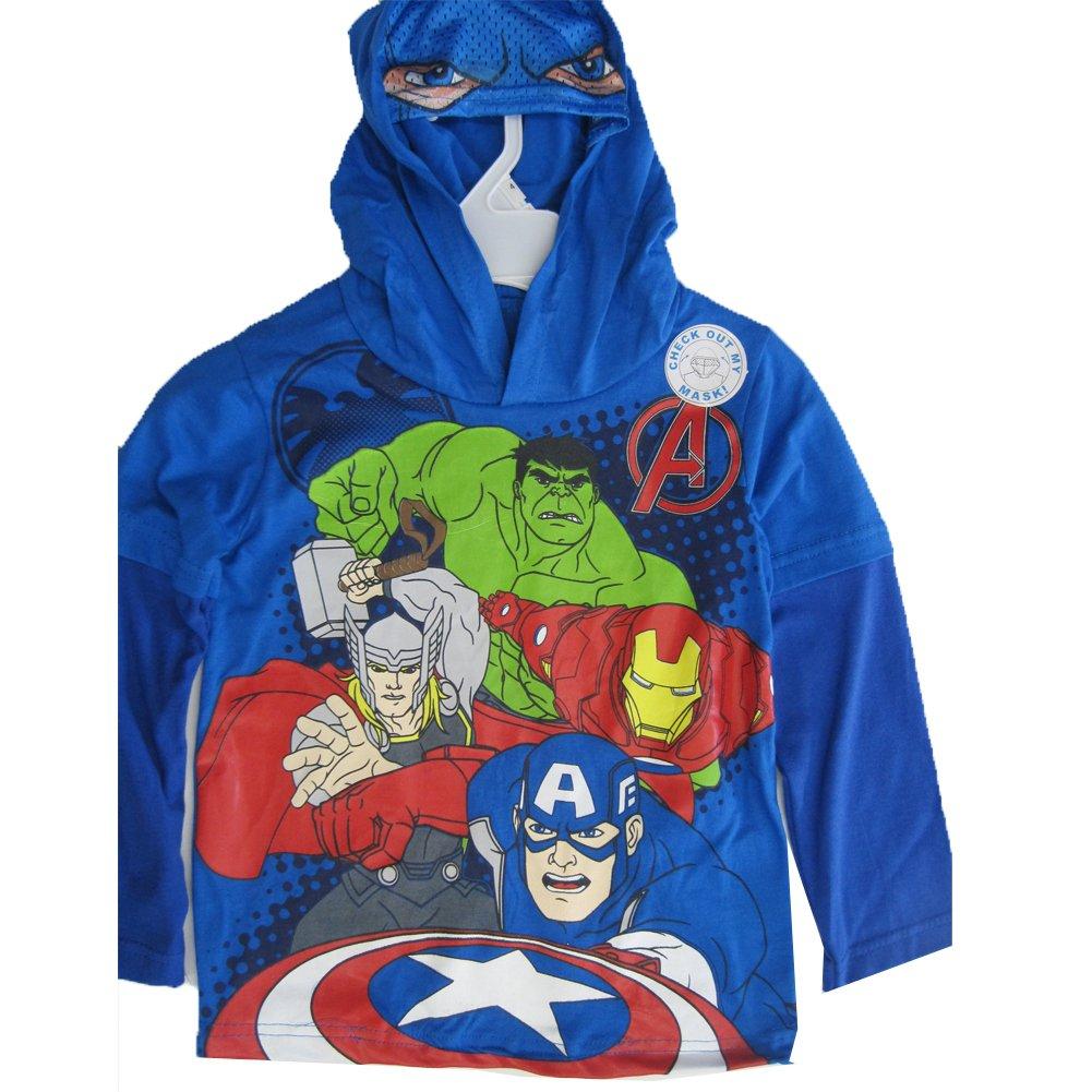 Marvels Little Boys Royal Blue Avengers Print Hooded Shirt 6
