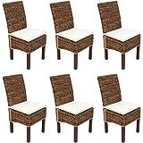 Set 6x sedia sala da pranzo M69 intreccio di banano ~ gambe chiare con cuscini