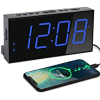 "7"" Big Number LED Alarm Clock, 2 Alarms, USB Charger, 5 Dimmable Brightness, 4 Adjustable Super Loud User Friendly…"