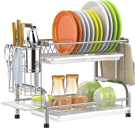 Estante de secado de platos de acero inoxidable de 2 niveles con soporte para utensilios y escurridor de platos para cocina y cocina