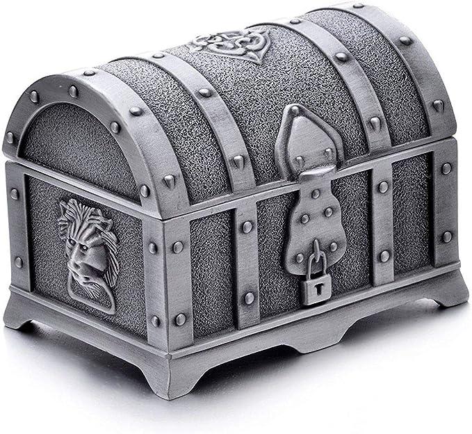 Tiamu RectáNgulo Vintage Metal Treasure Chest Trinket Joyero Caja de Regalo Anillo Caja para Ni?As Damas Mujeres: Amazon.es: Hogar