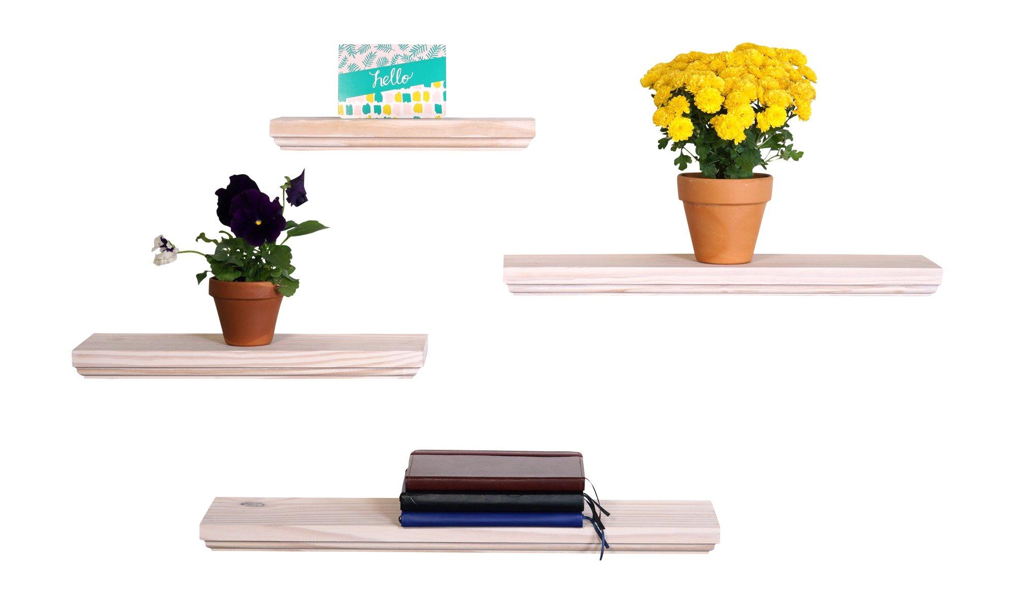 DAKODA LOVE Routed Edge Floating Shelves, USA Handmade, White Stain Finish, 100% Countersunk Hidden Floating Shelf Brackets, Beautiful Grain Pine Wood Wall Decor (Set of 4) (Cloud)