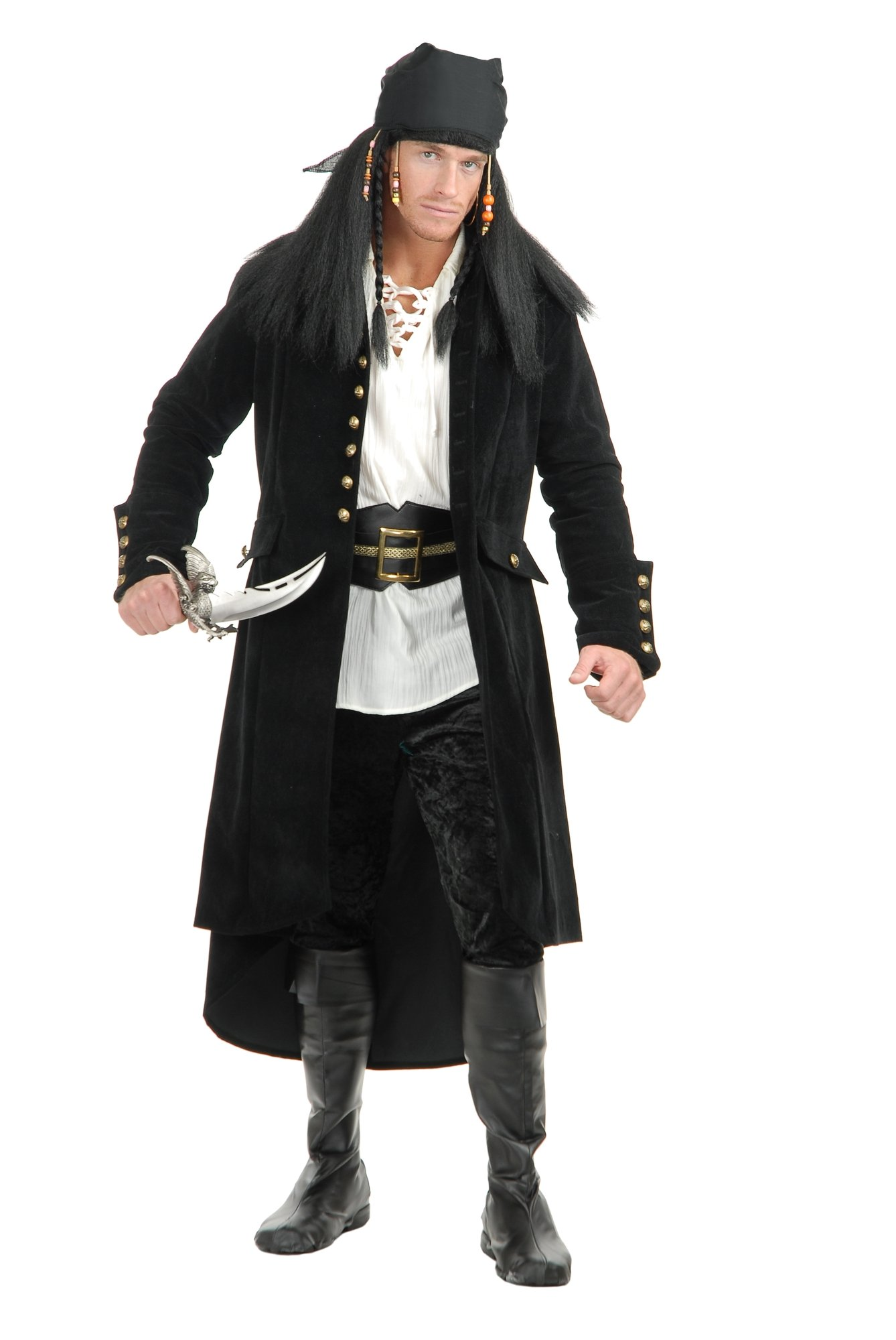 Charades Men's Treasure Island Pirate Jacket, Black, X-Large